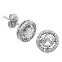 Paj Sterling Silver April Birthstone Halo Earrings