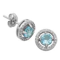 PAJ Sterling Silver December Birthstone Halo Earrings
