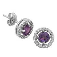 Paj Sterling Silver February Birthstone Halo Earrings