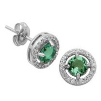 PAJ Sterling Silver May Birthstone Halo Earrings